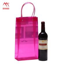 custom printing weeding gifts rose pink wine cooler plastic pvc bag(SD-PB-026)