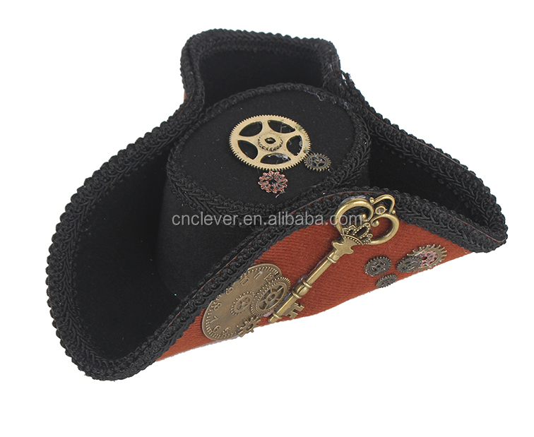 unique design brown min pirate hat with punk accessories party headband
