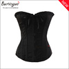 Burvogue Wholesale Elegant Black Satin Overbust Corset and Bustier Tops For Women