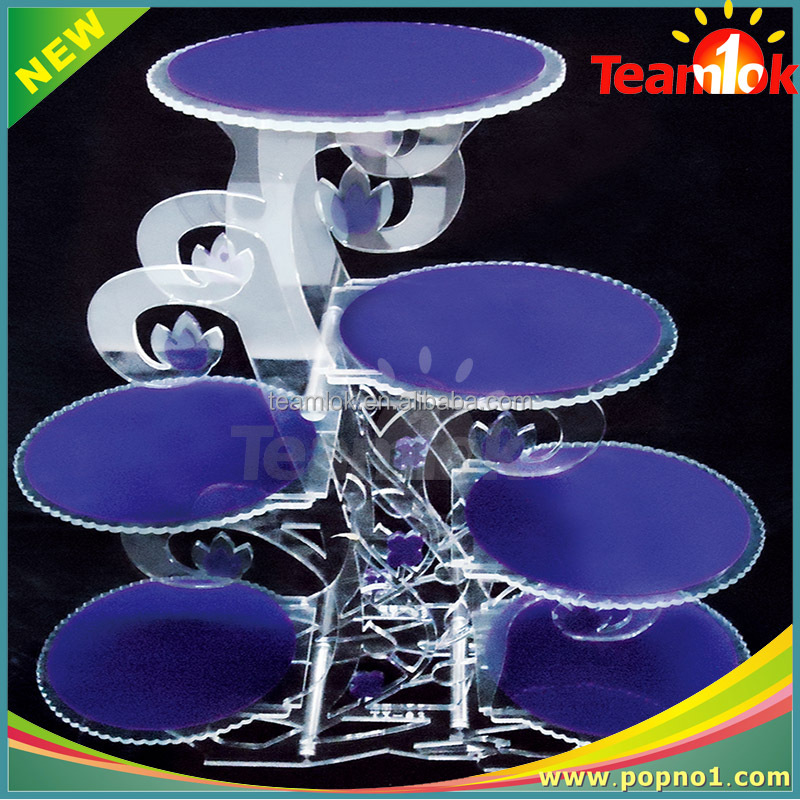5 Tier Round Crystal Acrylic Cake / Dessert Display Stand Supplied in Christmas / Wedding / Birthday Party