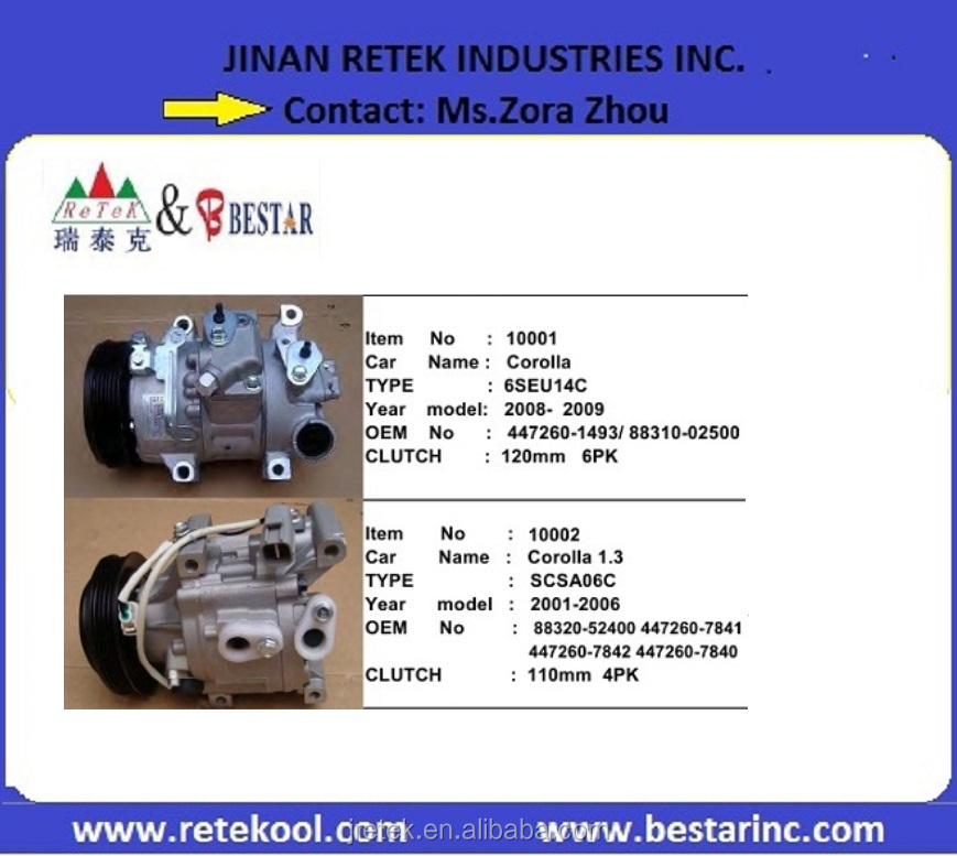 SCSA06C Electric Ac Compressors for Toyota Corolla Cars