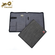 customize A4 A5 B5 cotton nylon zipper portfolios file folder with phone pocket