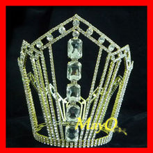 Large tall gold round pageant crown, kings crown for sale, men's full round crown with big diamond