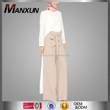 Muslim Cool Wide Leg Ankle-length Pants Women Palazzo Trousers With Bowknot Islamic Ladies Office Pants
