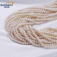 Wholesale Natural Freshwater pearl, 5 mm grade AA white off round decoration pearl strands
