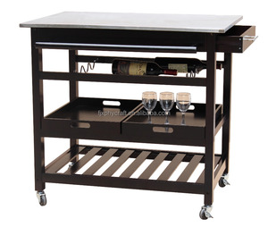 Black Color Stainless Steel Kitchen Trolley with Wine Rack