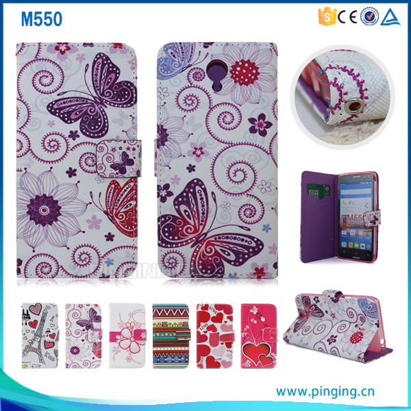 Wonderful butterfly style colorful printing phone case for Infocus M550, leather flip case cover for Infocus M550