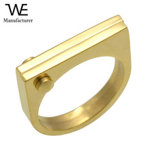 Fashion Flat Shackle Tag punk Screw Finger Ring Rose Gold Color For Women Titanium Steel Ring Jewelry