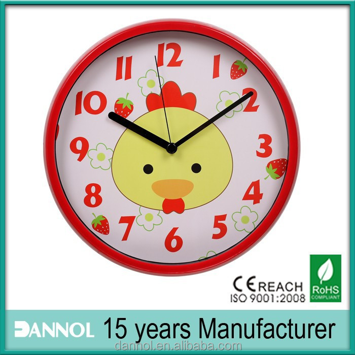 Chicken and Strawberry Kids 12 Inch Quartz Plastic Cartoon Wall Clock Pictures
