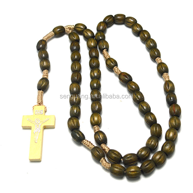 wood and bead necklace,olive wood rosary beads,2016custom necklace