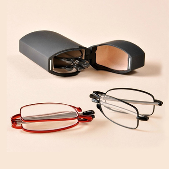 Classic and hot selling unisex pocket folding reading glasses with metal case