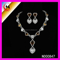 LUXURIOUS HEART SHAPED CRYSTAL NECKLACE AND EARRING SET,2015 NEW FASHION HEART NECKLACE