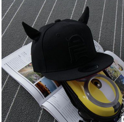 MS70036H wholesale cute kids black hats with ears hats kids baseball caps