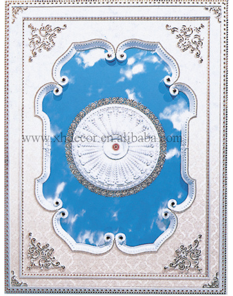 Perfect color silver stamped in white base w/ Blue Cloud Pattern insert ceiling tile