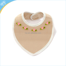 2 Layers Cute Tiny Flower Applique Organic Baby Bandana Bibs For Kids Lunch Feed