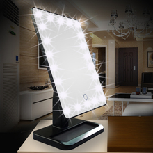 Rotatable brightness adjustable touch screen sensing swich makeup table with led lighted mirror