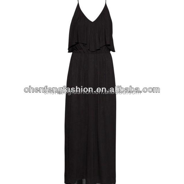 CHEFON Petite Maxi Dress with Ruffle CHMD0013