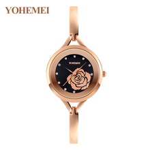 Flower Watches Girls 2017 New YOHEMEI Ultra Thin Watch Woman Rose Gold Wristwatch Simple Dress Quartz Clock Zegarek Damski Reloj
