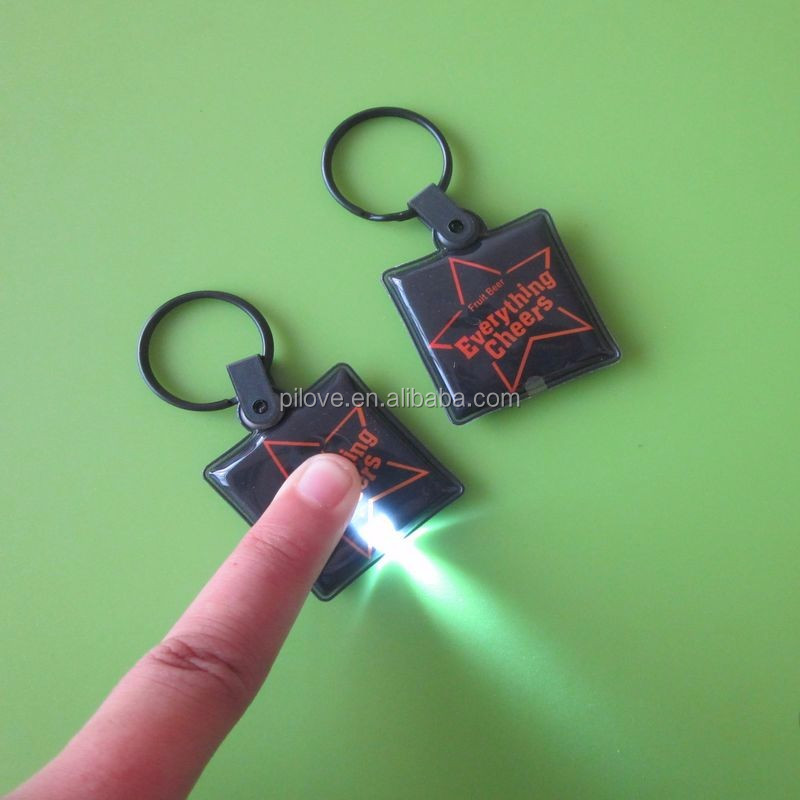 Customized give away gifts PVC printed keyring with led light