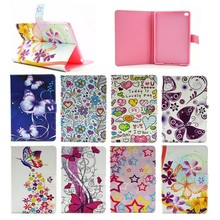 2015 Flower & butterfly pattern cedit card Leather case for ipad mini 4, for apple ipad mini 4 case cover