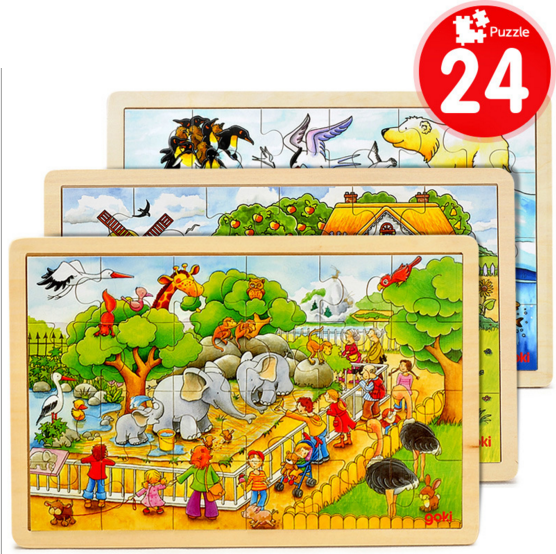 Miller's farm apple tree house Wooden toys children 60 pieces of puzzle, kids wood puzzle toys,gift