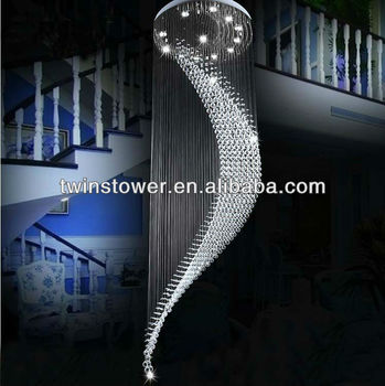 modern crystal stairs chandelier