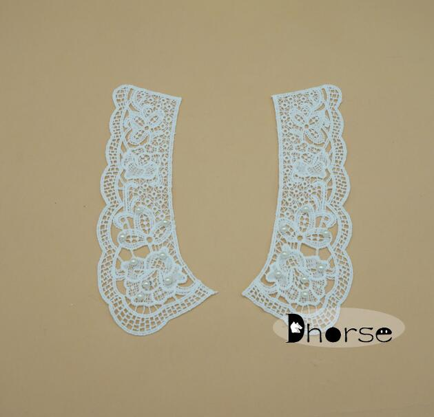 China wholesale sweet heart neck lace patch with beads, neck lace motif DHDC1939