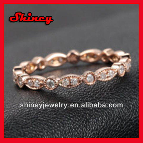 rose gold eternity band 925 silver with cz stone and rose gold plated ring