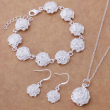 fashion design factory best wholesale jewelry set 925 silver plating flower shape jewelry