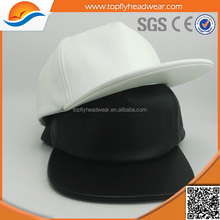 plain black white soft pu leather snapbacks cap with sublimation printing lining