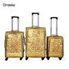 2017 hot sale famous brands Omaska 3pcs set PU material spinner wheeled market trolley bag