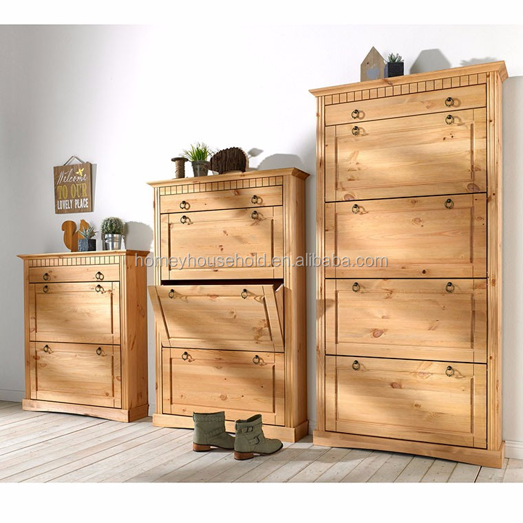 3 Doors Pull Down 1 Drawer Shoe Cupboard Tidy Deluxe Cabinet Pine Wood