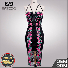 Good Sensitivity EWECOO elegant flower embroidery mesh party dress 2018 fashion bodycon dress