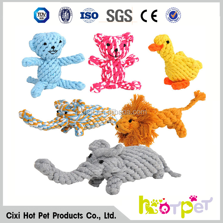 Dog Toys Pet Cotton Rope Bear Duck Cat Handmade Knitted Pet Toy