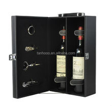Hot Selling Luxury Portable Wholesale Wine Holder 2 Bottle Gift Case Custom Leather Wine Carrier Wine Box