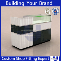 Best design good quality cheap wooden cloth shop counter table