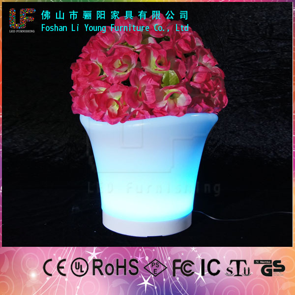 LED bonsai pot light up led flower pot decoration indoor colorful plastic led light flowerpots