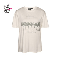 HAODUOYI Women Summer Fashion Letter Tree Print Girl T-shirt Casual Harajuku Short Sleeve O-neck Top T-shirt for Wholesale