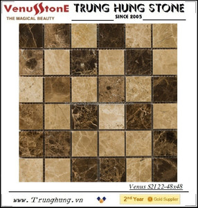 48*48 Dark Emperador and Light Emperador Polished Marble Mosaic Tiles