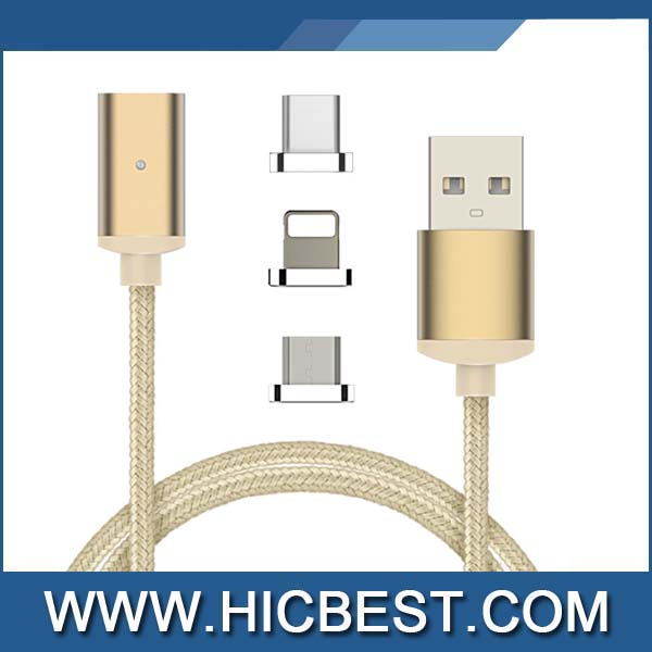 3 in 1 Braided Nylon Aluminum Magnetic Type C USB Data Sync Charging Cable For iphone/micro/usb-c
