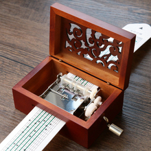 Custom Vintage 15 Note DIY Wooden Hollow Hand Cranked Music Box