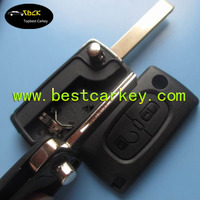 TOPBEST remote key fob chip Peugeot 307 207 407 308 remote key shell with groove blade and battery place