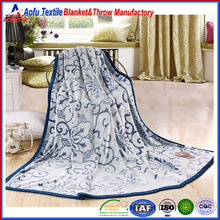Genuine goods home textile pure color embossed design flannel fleece throw blanket