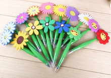 custom flower shape silicone material novelty ball pen