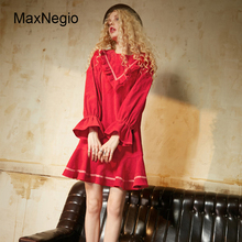 Maxnegio Latest Dress Designs Photos Long Sleeve Chinese Blue Custom Dress With A-line