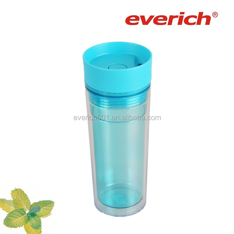 clear double wall Plastic travel mug with lid