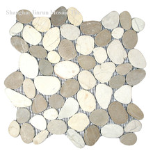 Glass Mosaic Tile 12X12 Marble Pebble Mosaic Tile Black Polished