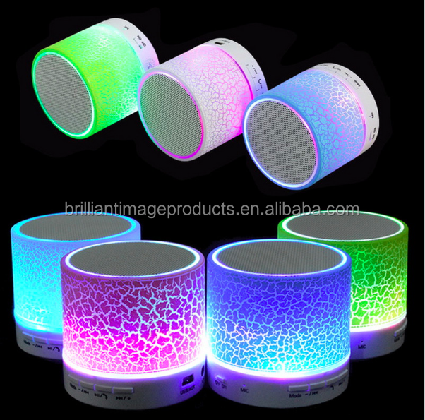 Portable Mini LED Bluetooth Speakers Wireless Small Music Audio TF USB FM Light Stereo Sound Speaker with Mic