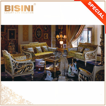 European Hollow Carving Design Luxury Living Room Sectional Gold and White Sofa Set