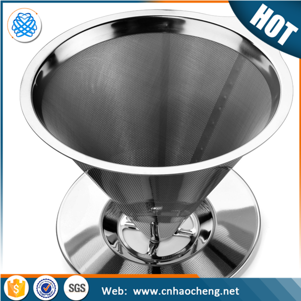 Stainless steel hand drip double layer pour over coffee dripper filter in stock